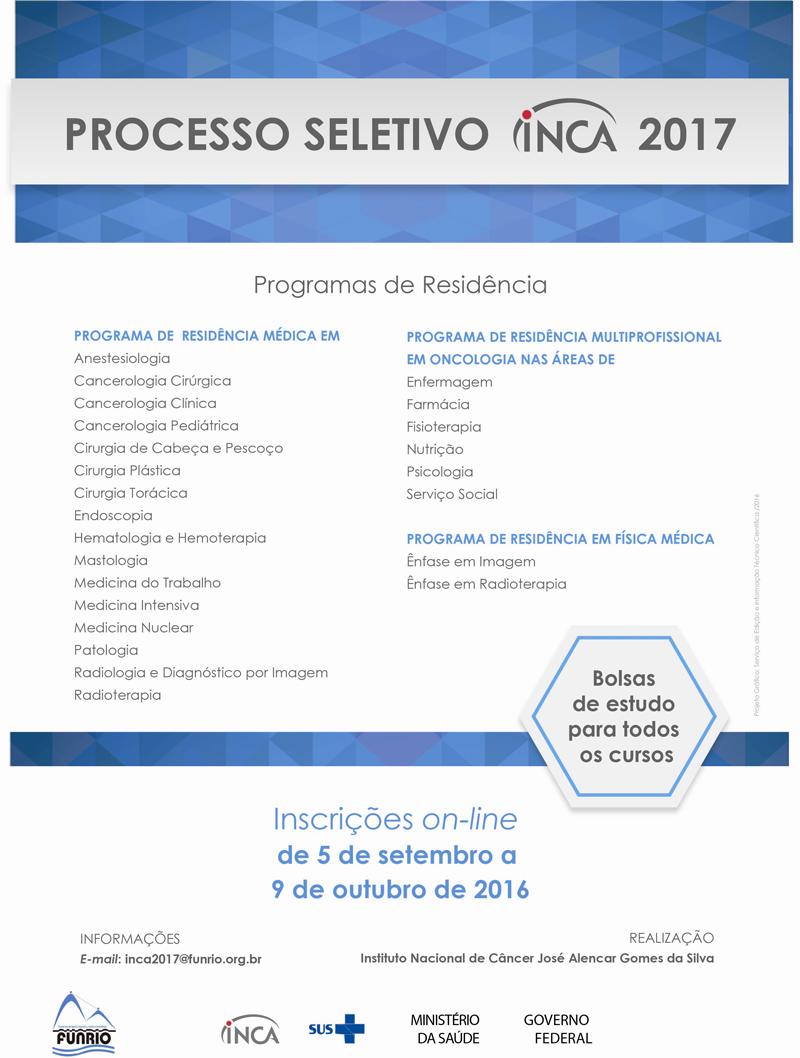 Processo Seetivo INCA 2017